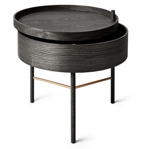 table en bois pivotante avec roulettes et rideau. Black Bedroom Furniture Sets. Home Design Ideas