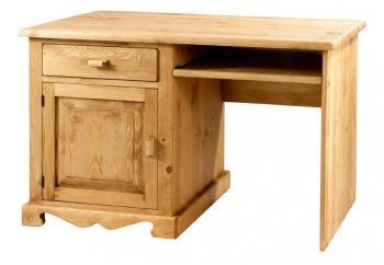 Bureau informatique en bois avec rideau serrure paris 60cm - Bureau informatique en pin ...