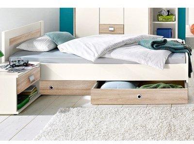 abaza lit 180 x 200 cm tte de lit bois chne bross. Black Bedroom Furniture Sets. Home Design Ideas