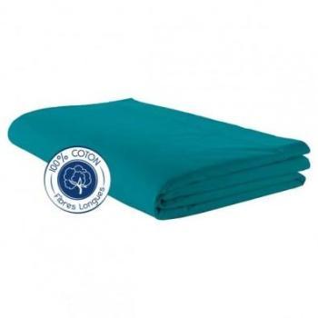 Drap plat 100 coton Bleu Paon