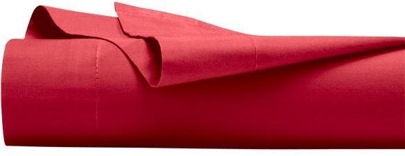 Drap plat Coton 57 fils Rouge
