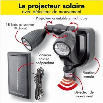 Lampe double projecteur solaire