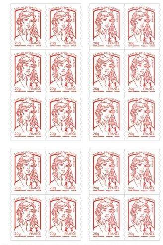 5 carnets de 20 timbres postaux