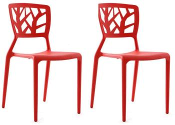 Lot de 2 chaises design rouges