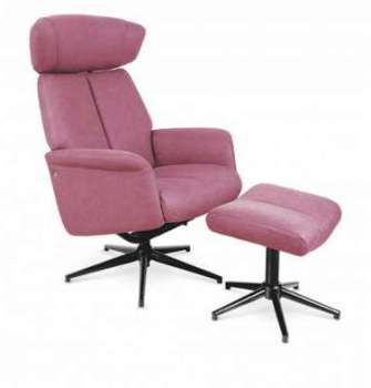 Fauteuil relax eco-cuir rose