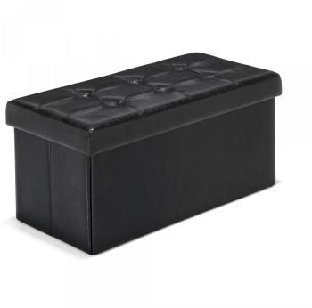 Pouf coffre banc coloris noir