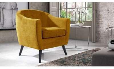 Fauteuil design tissu jaune