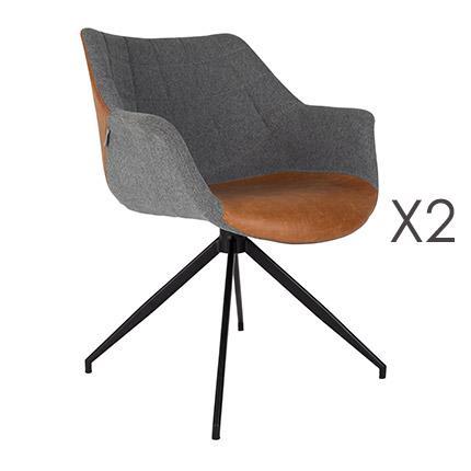Lot de 2 fauteuils - marron