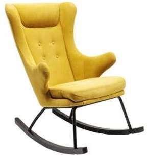 Rocking-chair tissu jaune