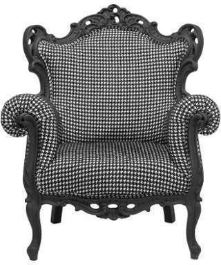 Fauteuil baroque blanc noir