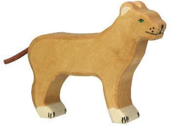 Lionne en bois debout 11 cm