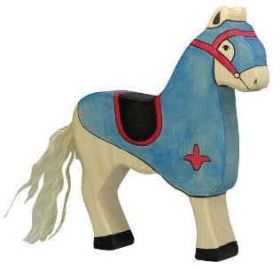 Cheval en bois bleu 17cm