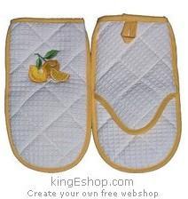 Gant de four brodé Citron