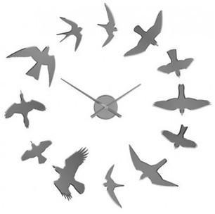 Horloge murale Oiseaux adhésive