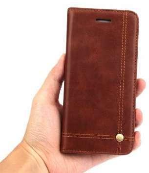 Etui porte-carte en cuir marron