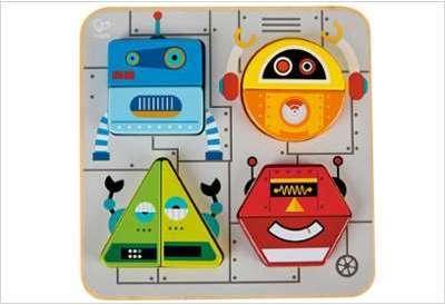 Puzzle d éveil en bois Robots