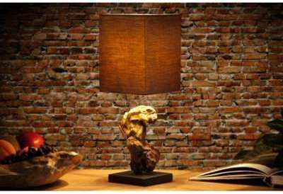 Lampe à poser design en bois