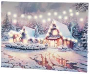Tableau lumineux Village sous