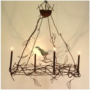 Lustre brindilles et oiseau