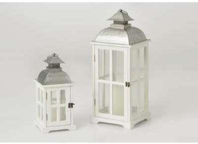 Set 2 lanternes bois blanc