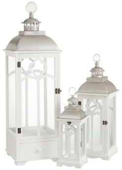 Set de 3 lanternes fleur blanc