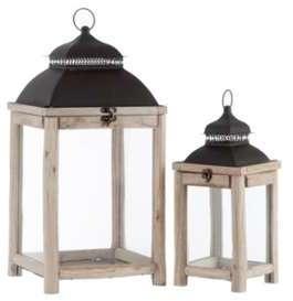 Set de 2 lanternes bois et