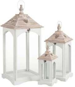 Set de 3 lanternes coeur blanc