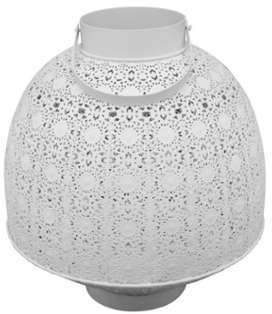 Lanterne Rosacée métal blanche