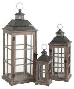 Set de 3 lanternes marron