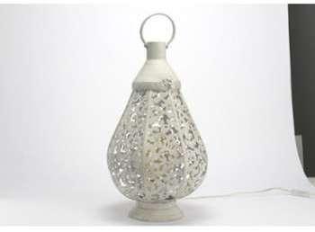 Lanterne métal ajourée blanche