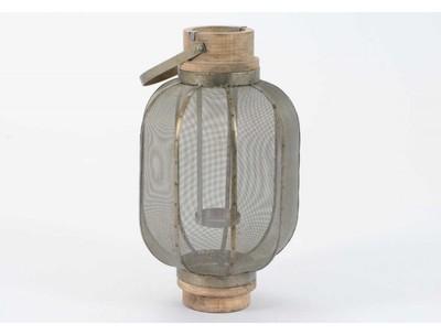 Lanterne Métal Bois Gris Tgm