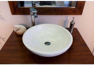 Vasque en terrazzo ronde crème