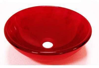 Vasque ronde en verre carmin