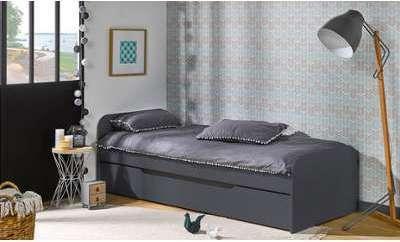 tolede lit gigogne 90 x 190 cm bois noir. Black Bedroom Furniture Sets. Home Design Ideas