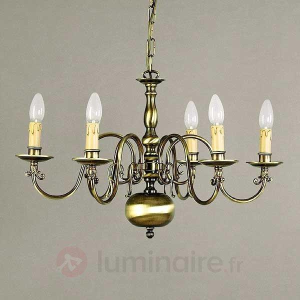 Lustre IMKE 5 lampes laiton