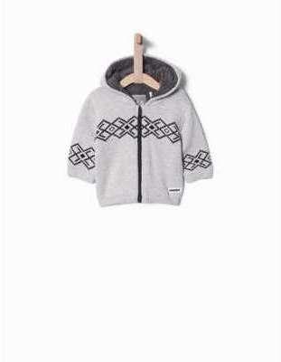 Veste tricot jacquard à capuche