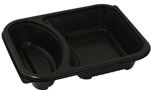Barquette PP noire 2 compartiments