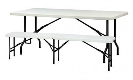 table et 2 bancs pliants bois 220cm 10 places mobeventpro. Black Bedroom Furniture Sets. Home Design Ideas