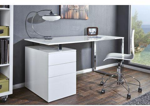 Bureau design blanc laqué