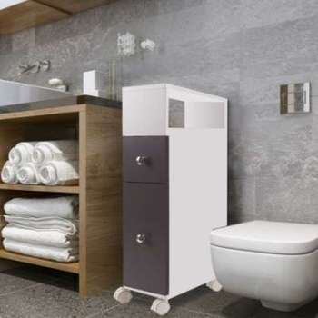 Meuble rangement WC sur roulettes