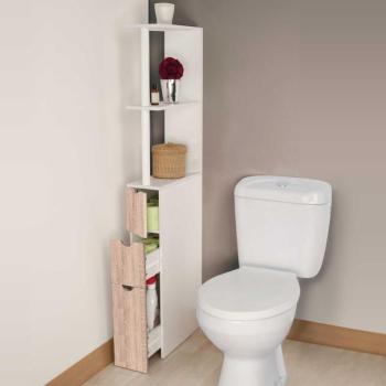 Meuble WC étagère bois 3 portes