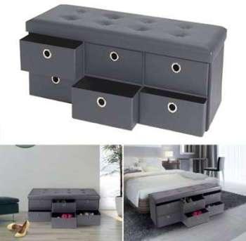 Banc coffre rangement gris