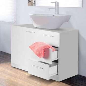 Meuble sous lavabo blanc avec