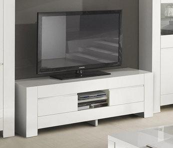 Meuble TV 2 portes blanc laqué