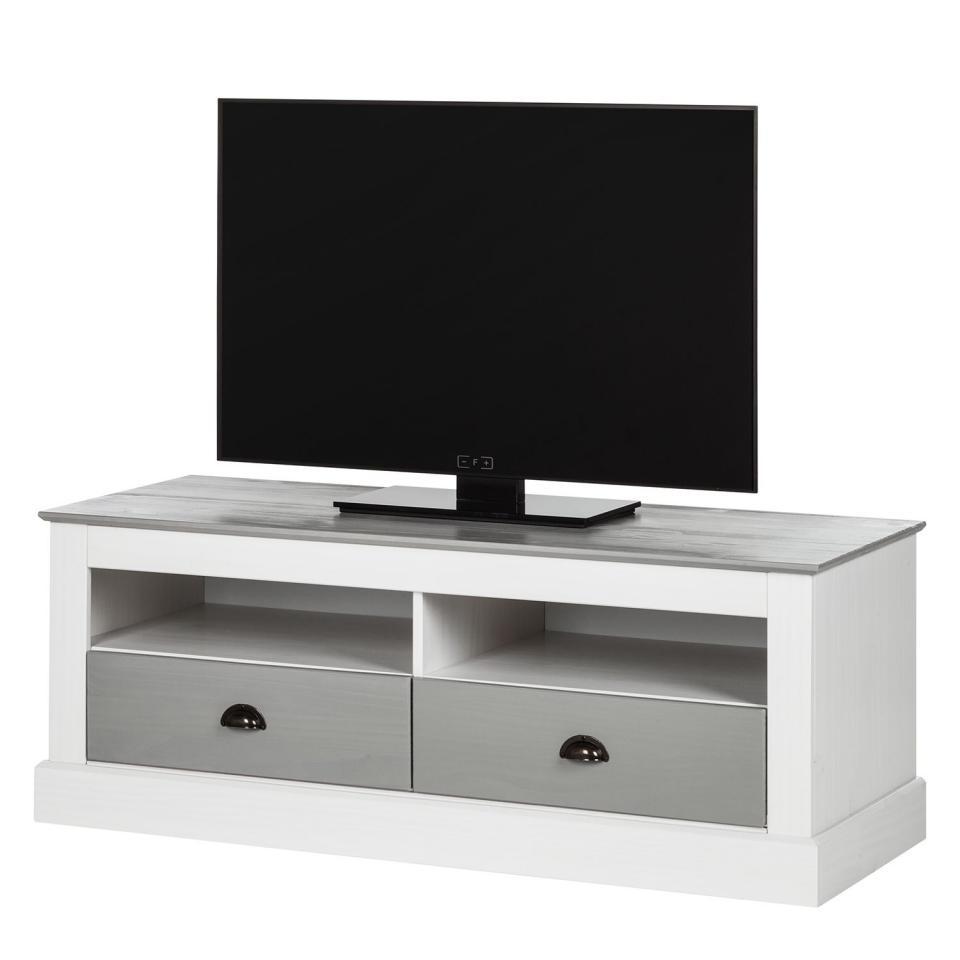 Couleurs cube meuble tv en pin massif brut 3 niches matenda for Meuble tv bois massif gris