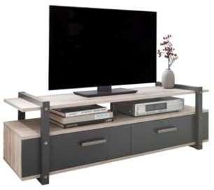 Meuble TV EIFFEL Gris et chêne