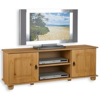 Couleurs cmeuble tv en pin 2 portes 4 tiroirs 1 niche for Meuble tv fin