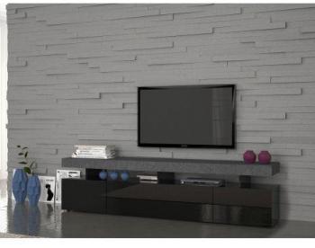 Meuble TV noir laqué pierre