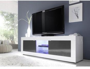 Meuble TV blanc et gris anthracite