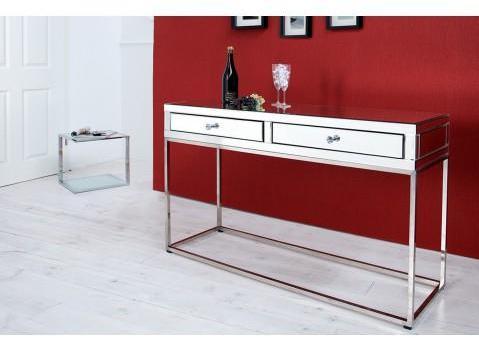 Console design 2 tiroirs miroir